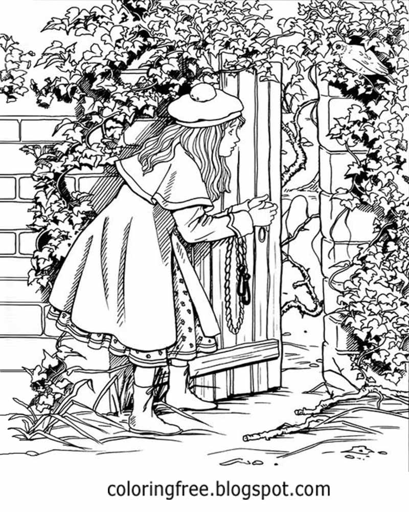 Printable drawing pages for adults - Girl At A Secret Gate Wooden Door Beautiful Garden Coloring Pages For Adults Printable Drawing Ideas