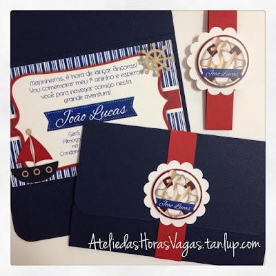 convite de aniversário artesanal infantil personalizado marinheiro azul vermelho 1 aninho menino