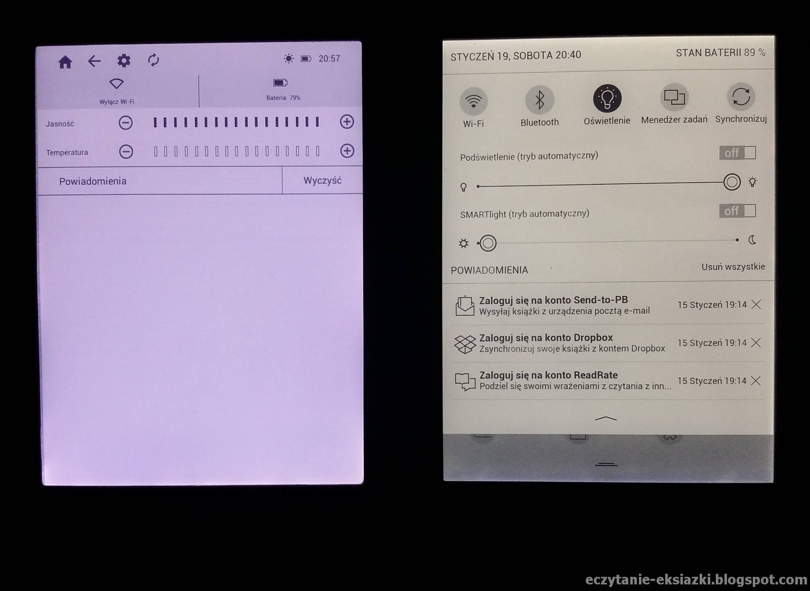 Ustawienia barwy podświetlenia w InkBOOK LUMOS i PocketBook Touch HD 3  – najchłodniejsza temperatura barwy i maksymalna intensywność