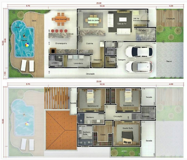 101 planos de casas 2 plantas for Planos de casas pequenas de dos plantas