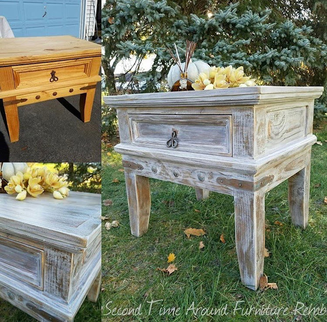Rustic Pine Table Makeover before and after with #Weatherwood