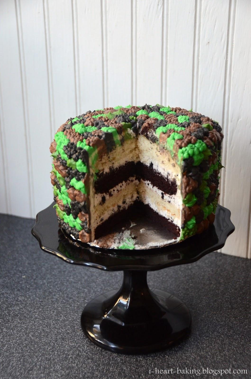 I Heart Baking Camouflage Pom Pom Cake