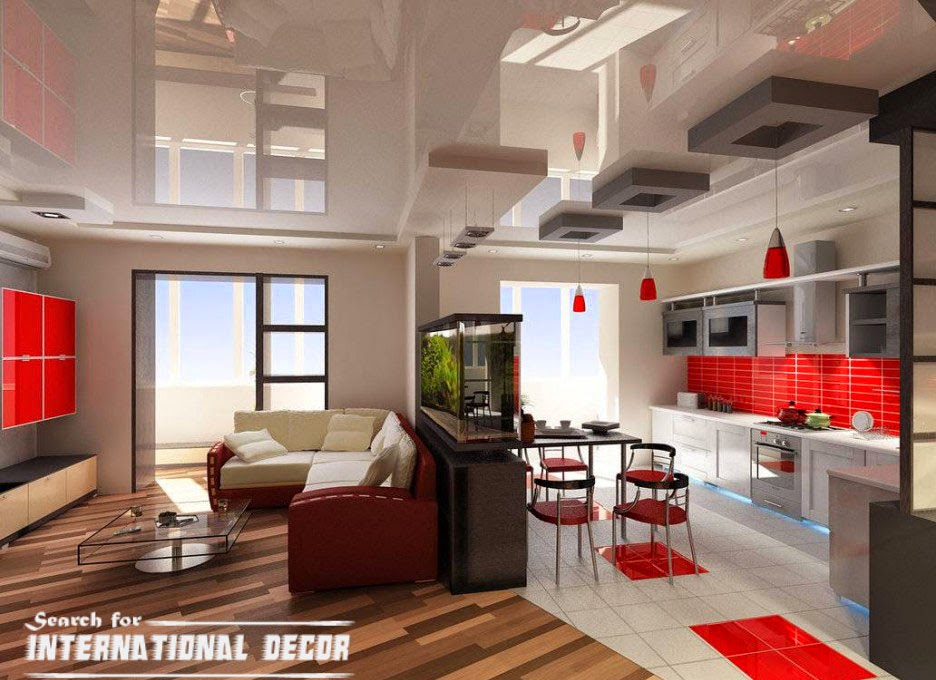 red and white living room with kitchen combined