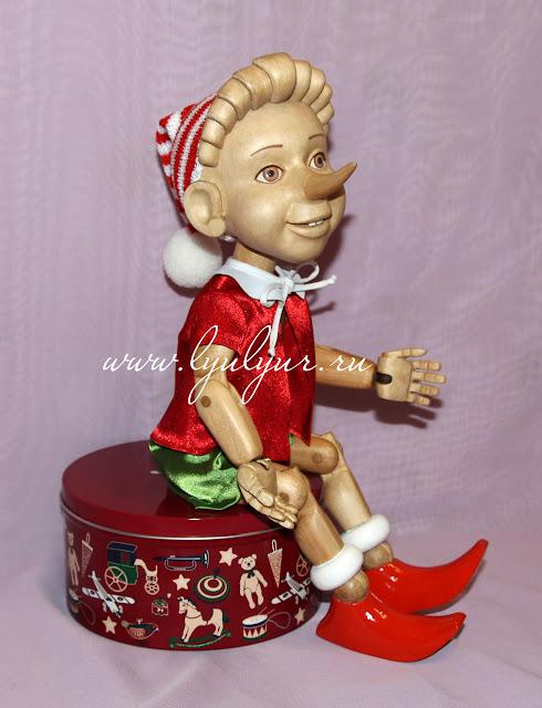 Деревянная шарнирная кукла - Буратино, Деревянный мальчик, Сказочный персонаж, Деревянная кукла, Буратино из дерева, Подарок на любой случай, Ручная работа, Подарок ручной работы.
