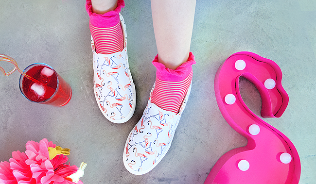 BucketFeet, flamingo shoes, artist designed sneakers