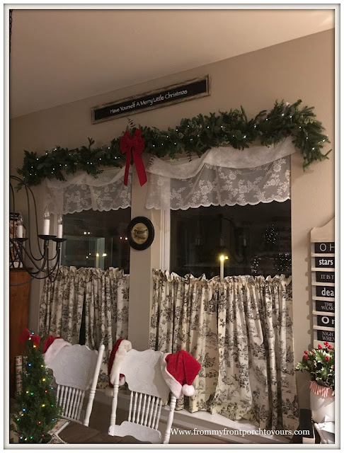 Farmhouse Christmas Decorations-French Country-French Farmhouse-Cottage Style-Kitchen-Breakfast Nook- From My Front Porch To Yours