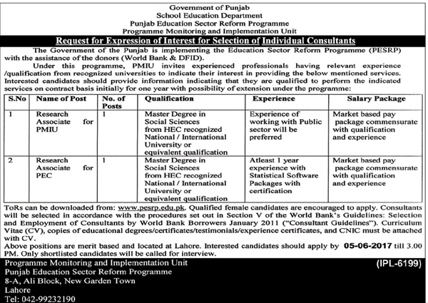 PMIU jobs  in School Education Department Govt Of Punjab 16 may 2017