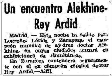 Encuentro Alekhine-Rey Ardid, Mundo Deportivo, 10 de febrero 1944