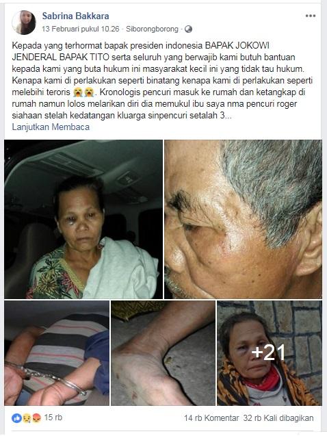 Screenshot Akun Facebook Sabrina Bakkara