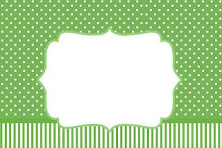 Verde con Lunares Blancos: Invitaciones para Imprimir Gratis.
