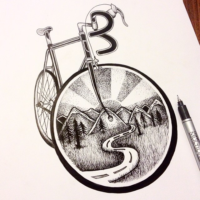 20-Cycling-Bicycle-Thiago-Bianchini-Eclectic-Collection-of-Drawings-and-Illustrations-www-designstack-co