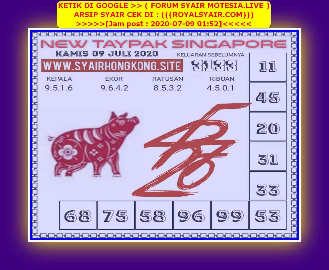 Kode syair Singapore Kamis 9 Juli 2020 201