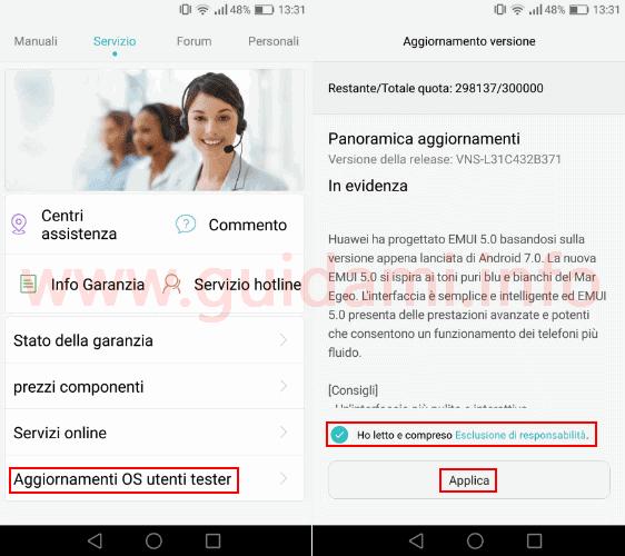 P9 Lite app HiCare aggiornamento Android 7 Nougat