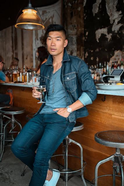 Leo Chan wearing dark denim Express Jacket for Fall