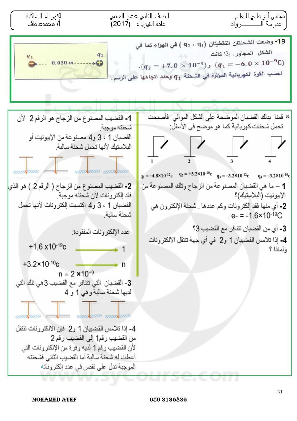 ملخص وحل الشحنة والقوة 2017 الصف الثاني عشر فيزياء الفصل