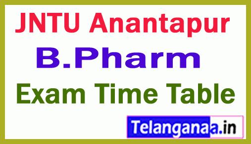 JNTUA B Pharmacy Regular Supply  Exam Time Table