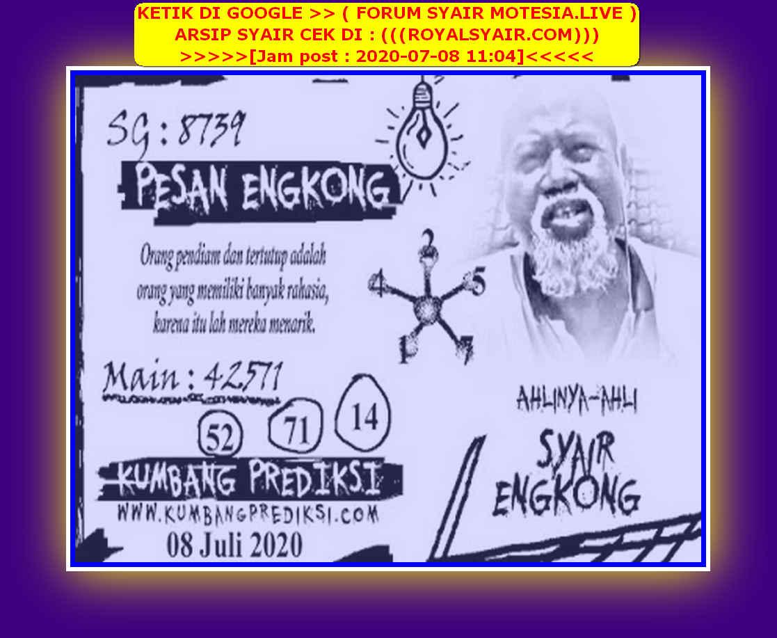 Kode syair Singapore Rabu 8 Juli 2020 81
