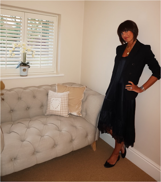 My Midlife Fashion, Marks and Spencer double breasted limited edition blazer, zara lace trim camisole midi dress, pointed ballet pumps