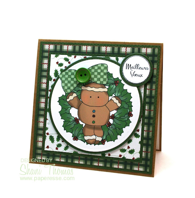 Gingerbread man Christmas card featuring Digi Web Studio Cheryl Seslar Sweet Wreaths topper, by Paperesse.