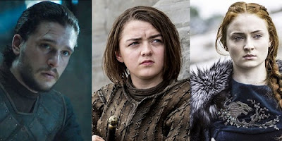 Jon Snow and the Stark Sisters-Game of Thrones Season 7 Premiere Character Meeting