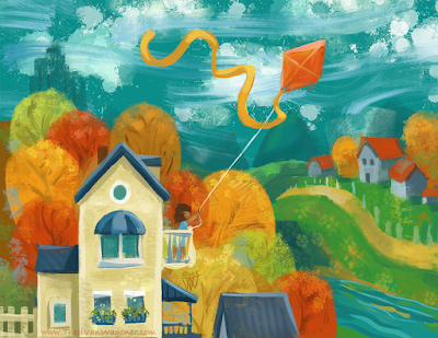 House in the Hills art by Traci Van Wagoner, for prompt House by IF