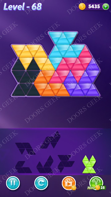 Block! Triangle Puzzle Intermediate Level 68 Solution, Cheats, Walkthrough for Android, iPhone, iPad and iPod