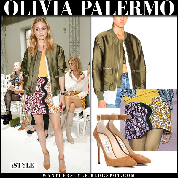 Olivia Palermo in green satin phillip lim bomber jacket, multi print mini giambattista valli skirt and suede pumps jimmy choo helena what she wore front row