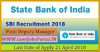 State Bank of India Recruitment 2018– 119 Special Management Executive, Deputy Manager