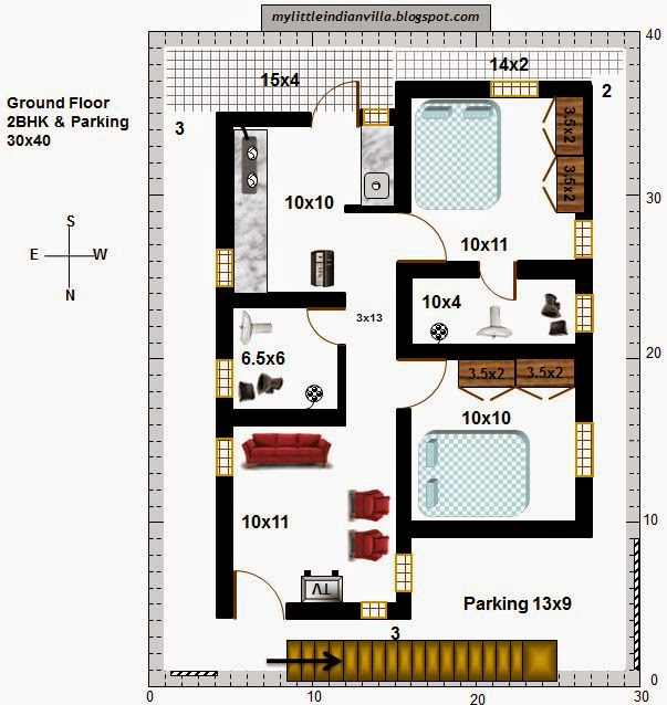 My little indian villa 41 r34 2bhk in 30x40 north for House plan for 30x40 site