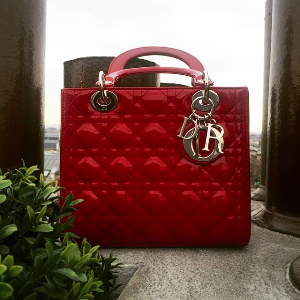 Lady Dior bag handbag purse red Paris France rooftop
