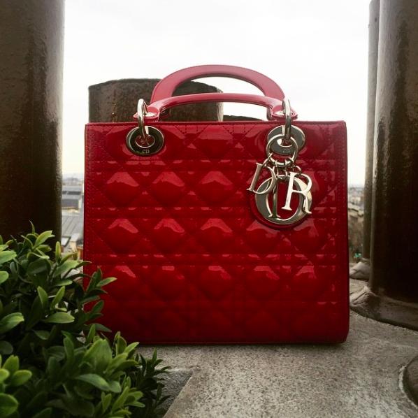 Lady Dior bag handbag purse red Paris France rooftop