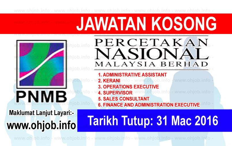 Jawatan Kerja Kosong Percetakan Nasional Malaysia Berhad (PNMB) logo www.ohjob.info mac 2016