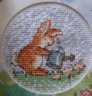 Cross stitch bunny and watering can