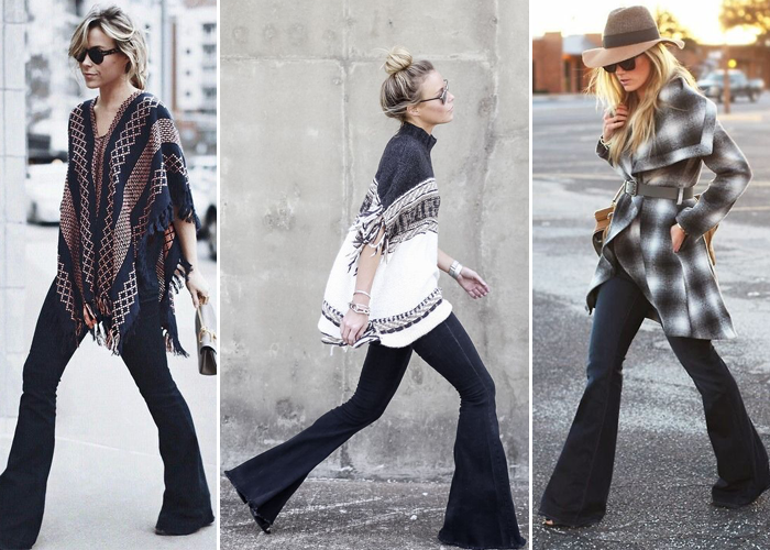 fall 2015 trends, ponchos, flared denim, floppy hats