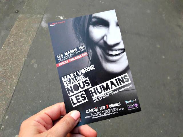 Nous les humains Maryvonne Beaune one woman show spectacle théâtre comédie des 3 bornes Paris