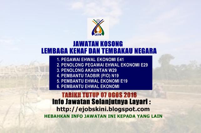 jawatan kosong di  Lembaga Kenaf dan Tembakau Negara (LKTN)