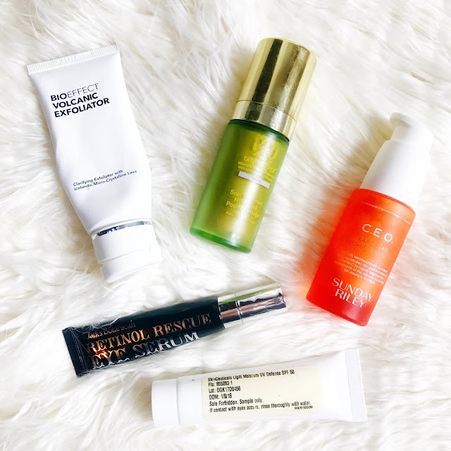 tata harper illuminating moisturizer, skinceuticals sunscreen, sunday riley C.E.O, clark's botanicals eye serum, bioeffect volcanic scrub