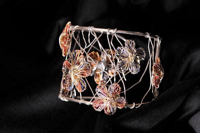 Flower bracelet, solid silver bangle