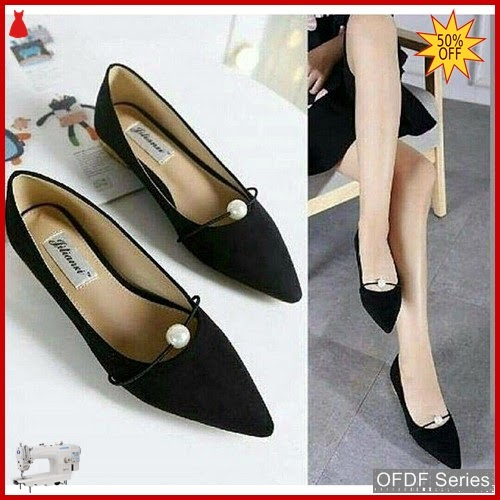 OFDF171 Sepatu Flat Cantik Elsana Pearl Hitam BMGShop