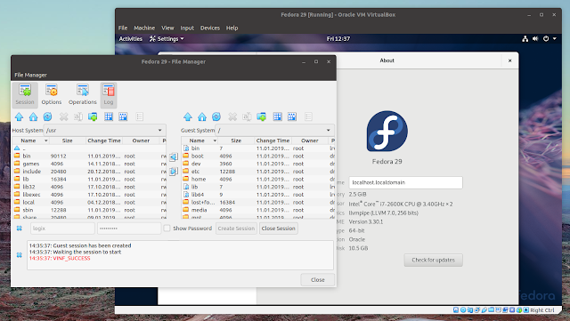Virtualbox 6.0 file manager Fedora