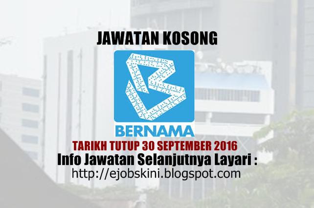 Jawatan koosng di BERNAMA september 2016