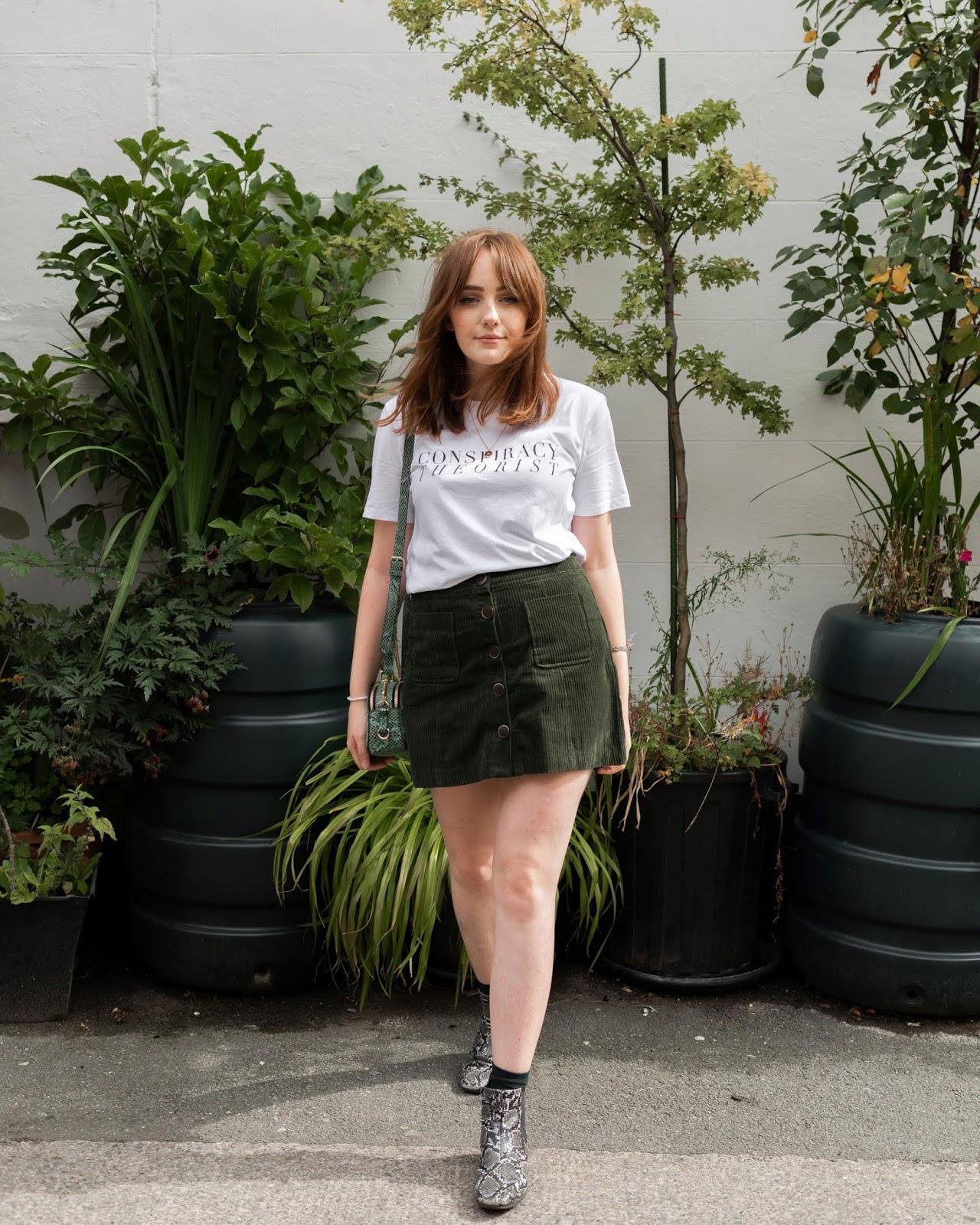 street style inspiration corduroy mini skirt