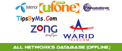Warid Jazz Ufone Zong Telenor All Sim Database Free Download 2017