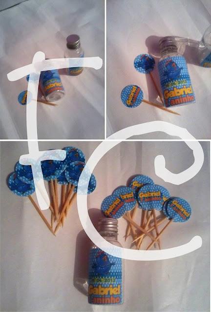 Mini Garrafinha e Toppers Personalizados - Galinha Pintadinha