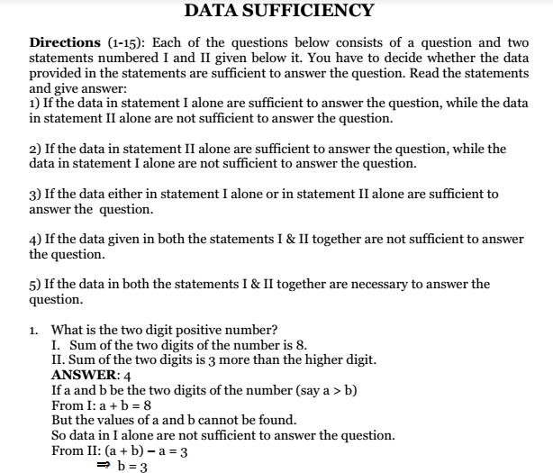Data Interpretation Data Sufficiency & Reasoning Pdf
