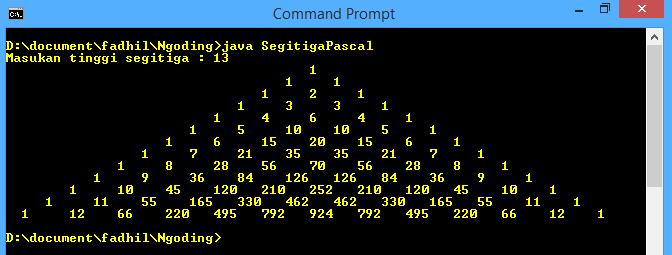 Segitiga Pascal Dengan Java - Tulisan Sederhana