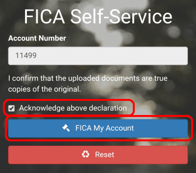 Confirm your documents are true by ticking the declaration box, and then click FICA My Account