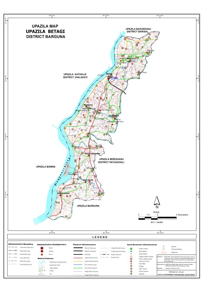 Betagi Upazila Map Barguna District Bangladesh