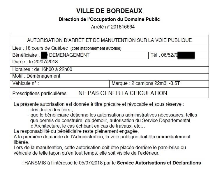 demenagement stationnment Bordeaux