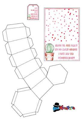 template scatolina vaso di carta fai da te